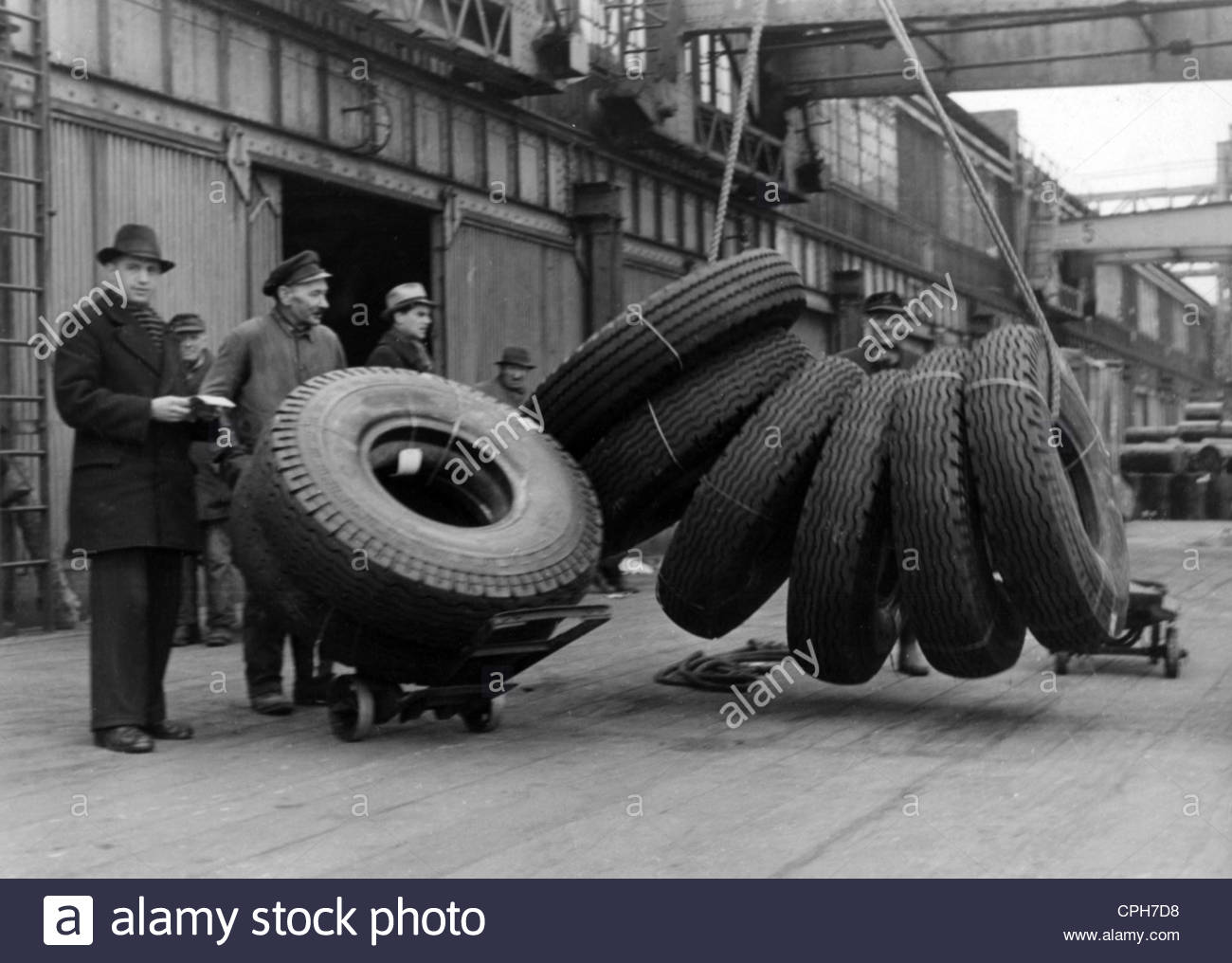 Post War Period, Marshall Plan, Germany, Delivery Of Car Tires.