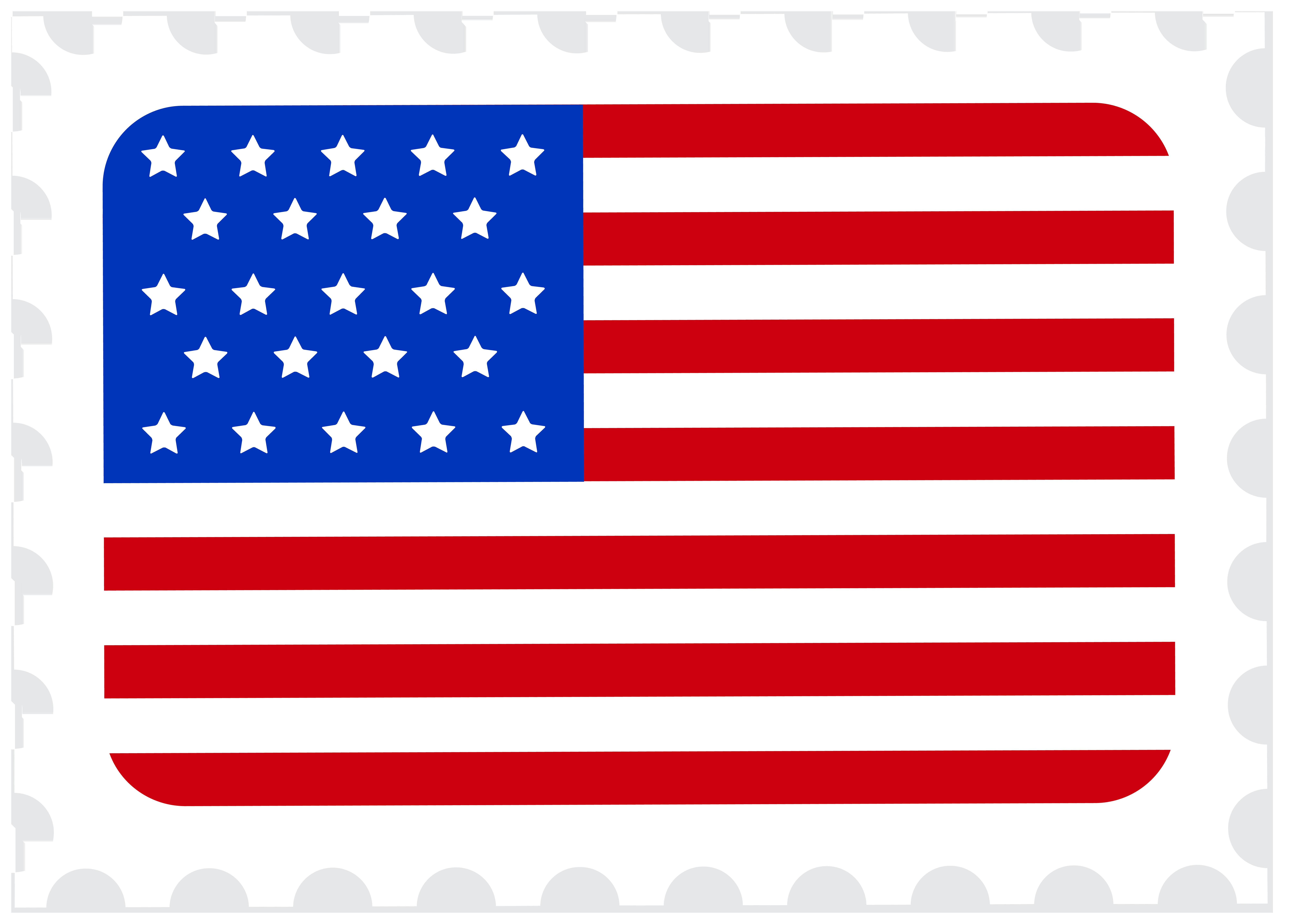 USA Flag Postage Stamp PNG Clip Art Image.