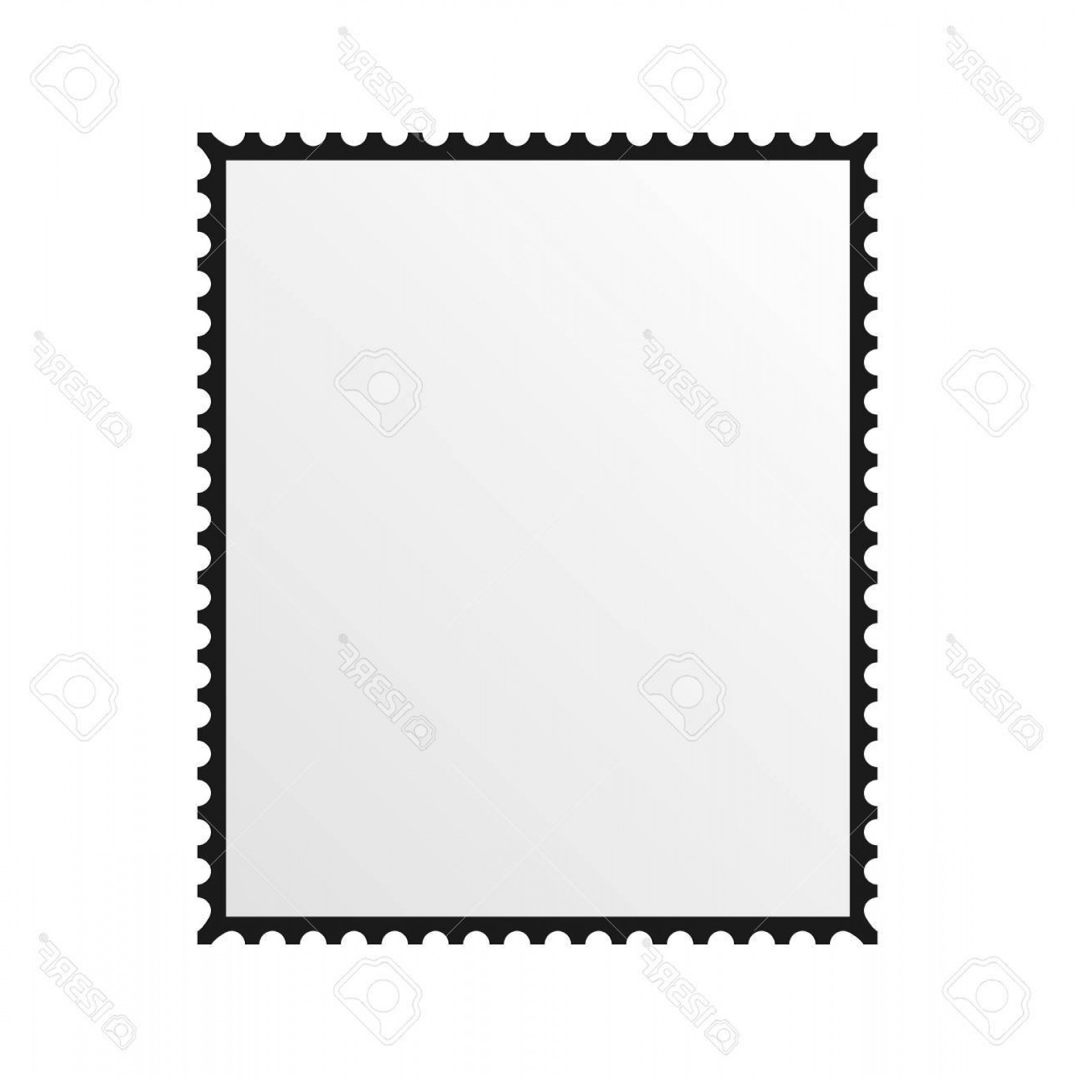 Photostock Vector Postage Stamp Vector Blank Mockup Square.