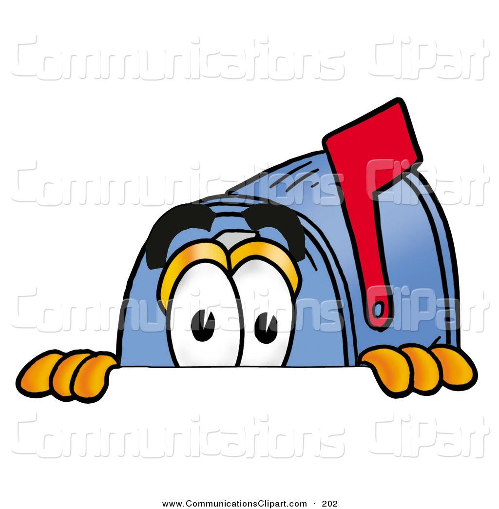 Communication Clipart of a Curious Blue Postal Mailbox Cartoon.