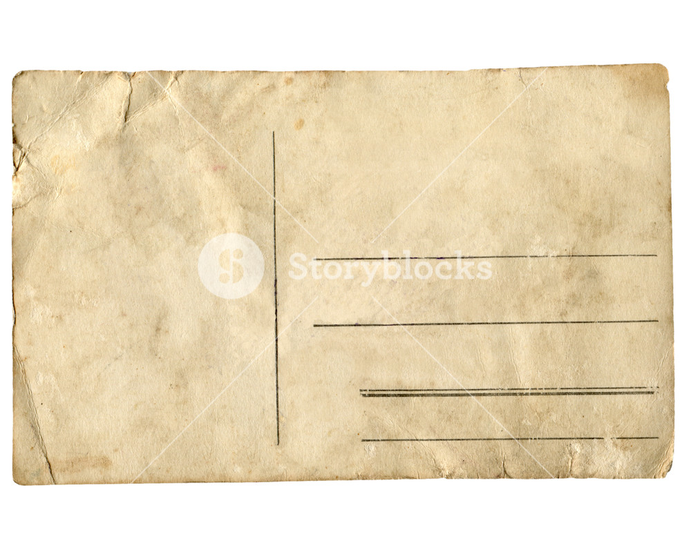 Blank postcard isolated over transparent background PNG.