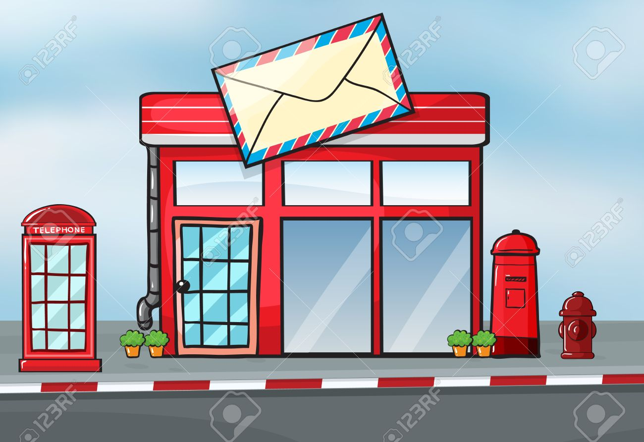 Illustration Of A Post Office Near A Street Royalty Free Cliparts.