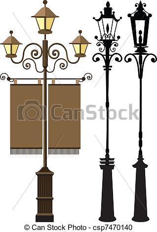 Vector Clipart of Lamp post set csp7470140.