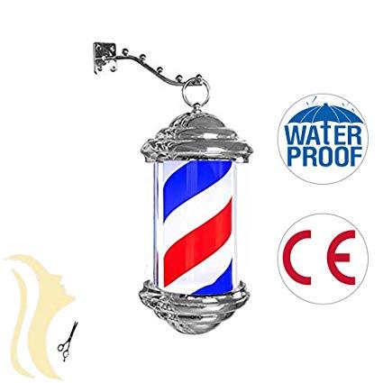 Barber Pole LED Luz de la Pared Peluquería Rotación Poste de.