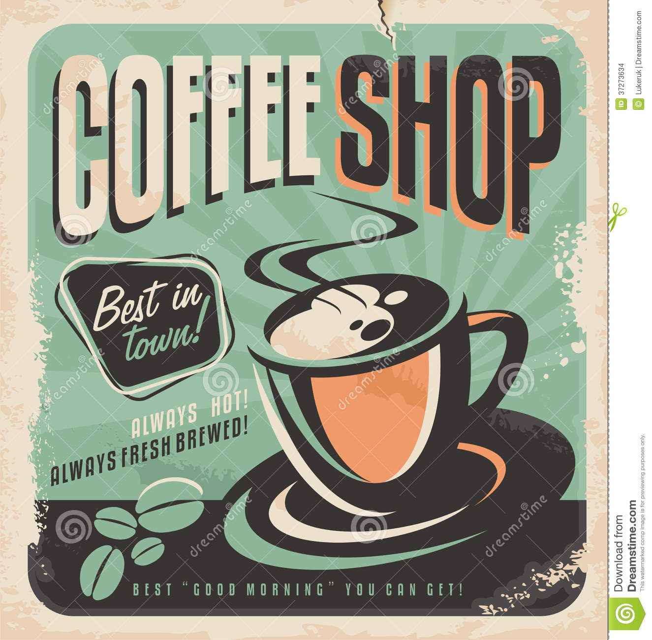 Retro poster for coffee shop.