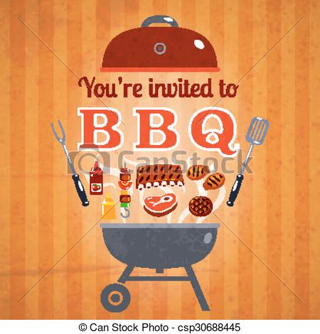 EPS Vector of Barbecue invitation event advertisement poster.
