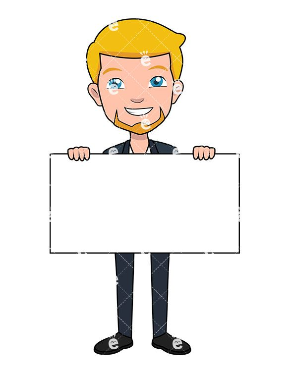 A Businessman Holding A Blank Piece Of Poster Board.
