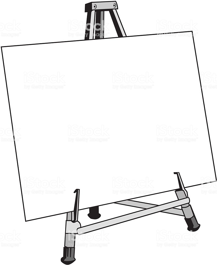 A blank canvas or posterboard on an easel. » Clipart Station.