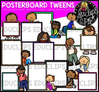 Poster Board Tweens Clip Art Bundle {Educlips Clipart}.