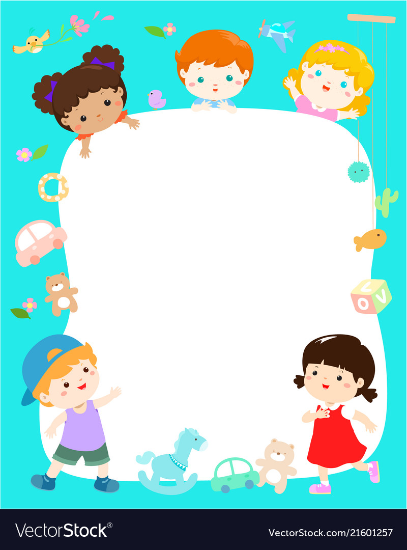 Blank template cute multiracial kids poster design.
