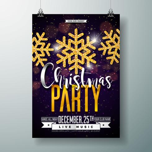 Merry Christmas Party Poster Design Template.