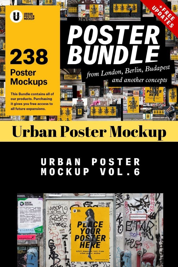 Urban Poster Mockup Bundle.