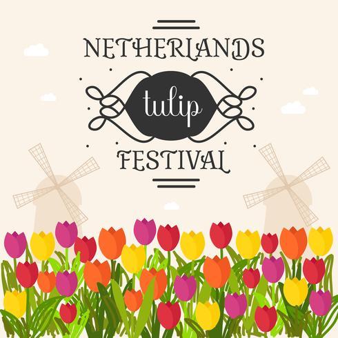 Netherlands Tulip Festival Poster Vector.