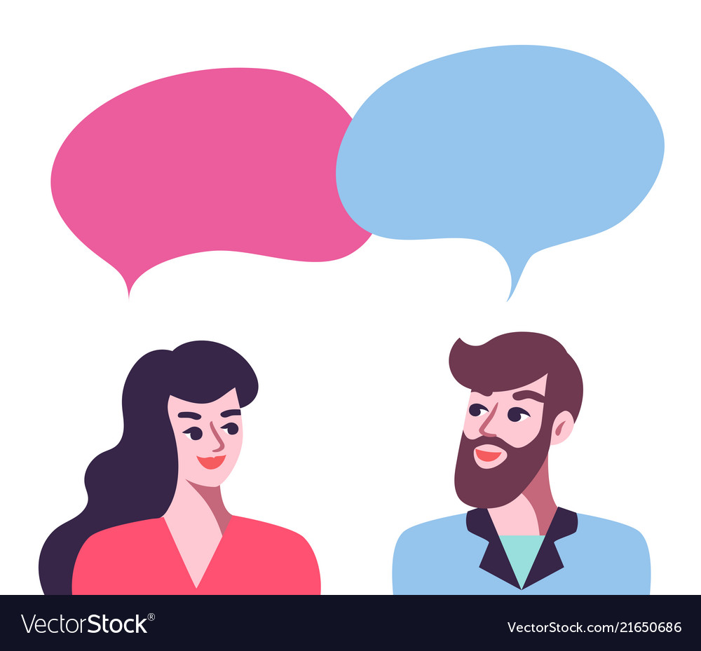 Man and woman talking poster.