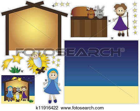 Clip Art of nativity cut and paste k11916422.