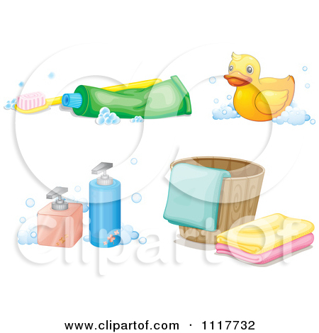 Toothbrush With Paste Rubber Duck Soap Dispensers And Bucket With.