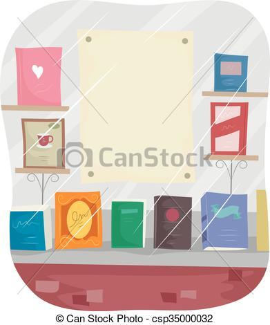 Vectors of Bookstore Window Display Blank Poster.