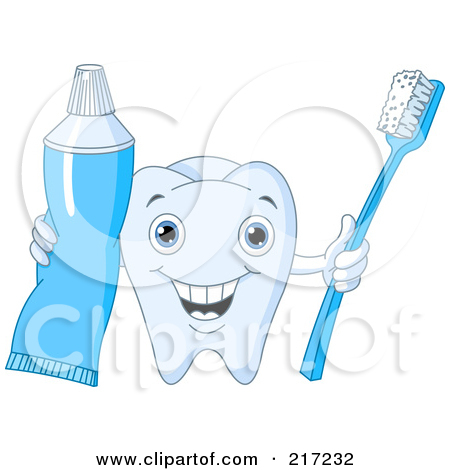 Happy Striped Tooth Paste Drop Holding A Tooth Brush Posters, Art.