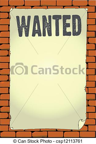 Clip Art Vector of Wanted Poster.