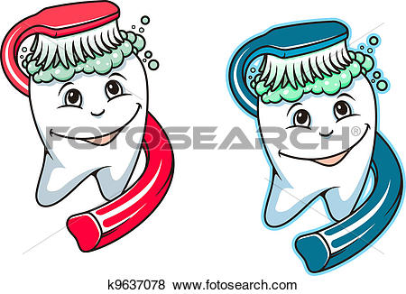 Clip Art of Toothbrush and dental paste k9637078.