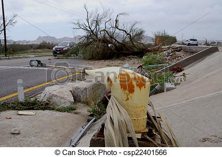 Stock Image of Broken by hurricane light post.