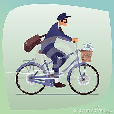Cartoon Mailman On Bike Stock Illustration.