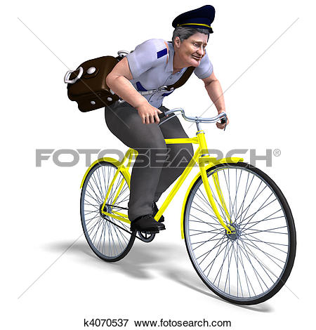 Stock Illustration of postman on a bike. 3D rendering with.
