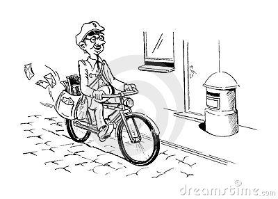 Postman Bicycle Stock Illustrations.