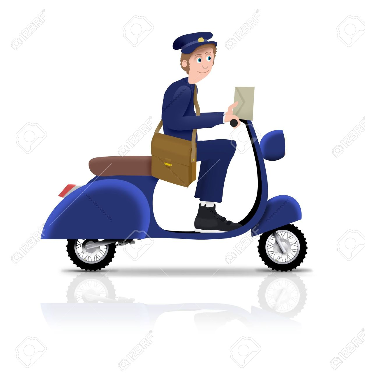 Illustrated Postman Riding A Scooter Stock Photo, Picture And.