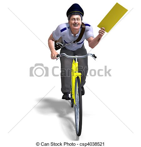 Clipart of a postman on a bike with a letter. 3D rendering and.