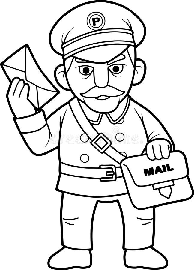 Postman Clipart Black And White.