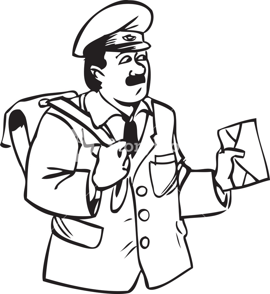 Illustration Of A Postman With Letter And Bag. Royalty.