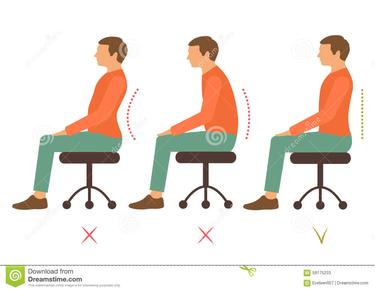 Correct Posture Stock Vector.