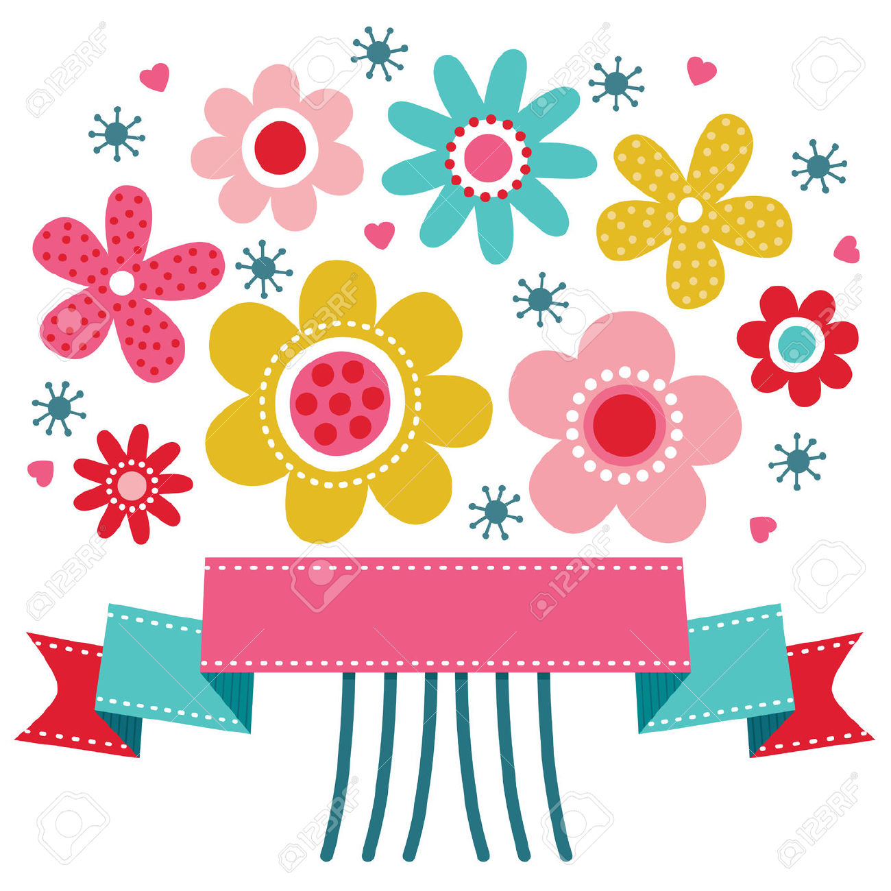 Cute Greeting Card Template With Bright Colored Retro Flower.