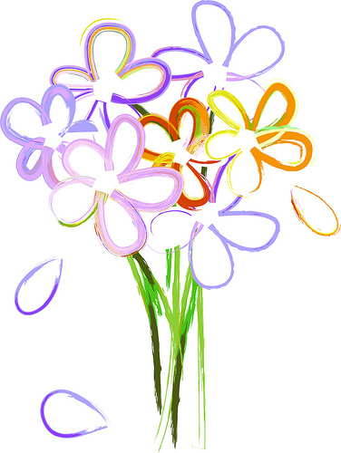 Purple Flower Bouquet Clipart.