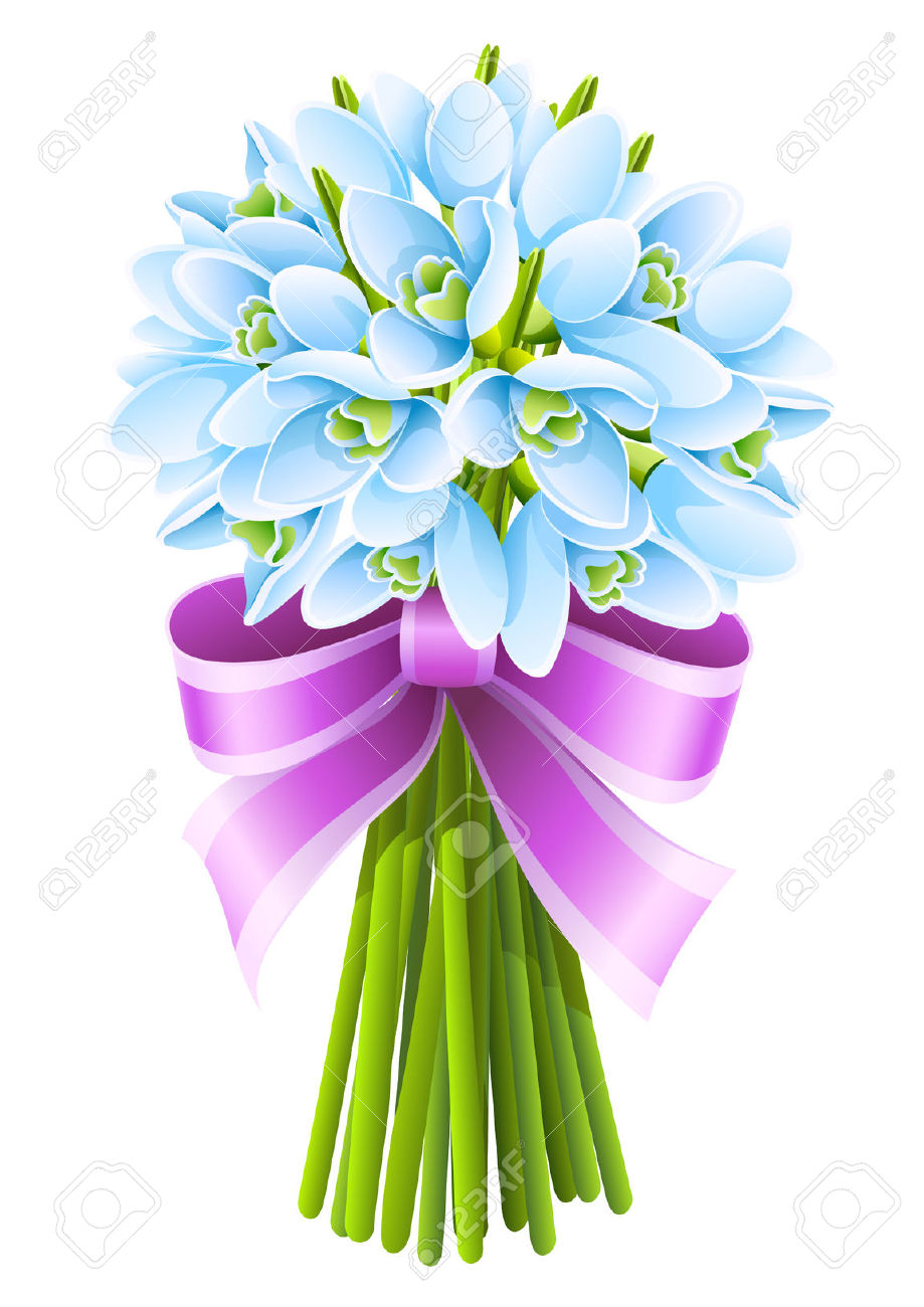 Spring Snowdrop Flowers Bouquet With Pink Ribbon Royalty Free.