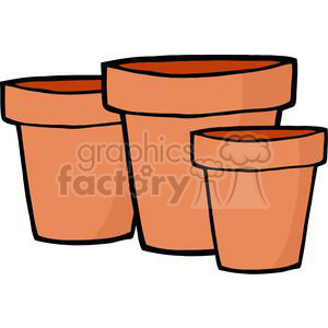 flower pots clipart. Royalty.