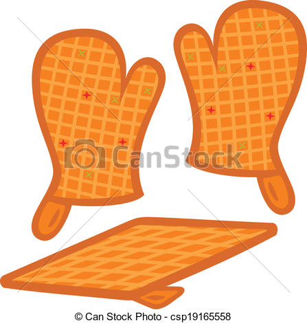 Clipart Vector of Oven mitts and pot.