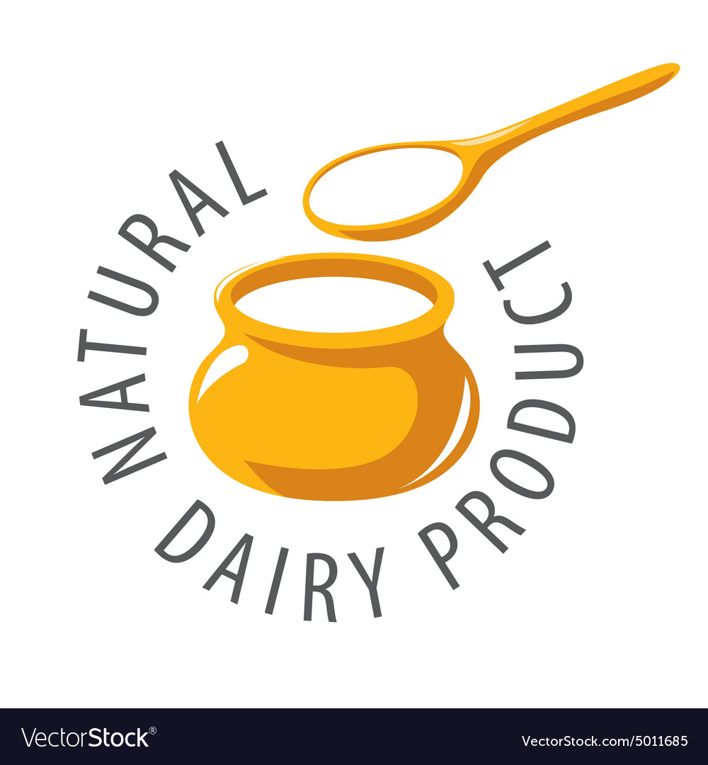 Logo pot and a spoon with milk product.
