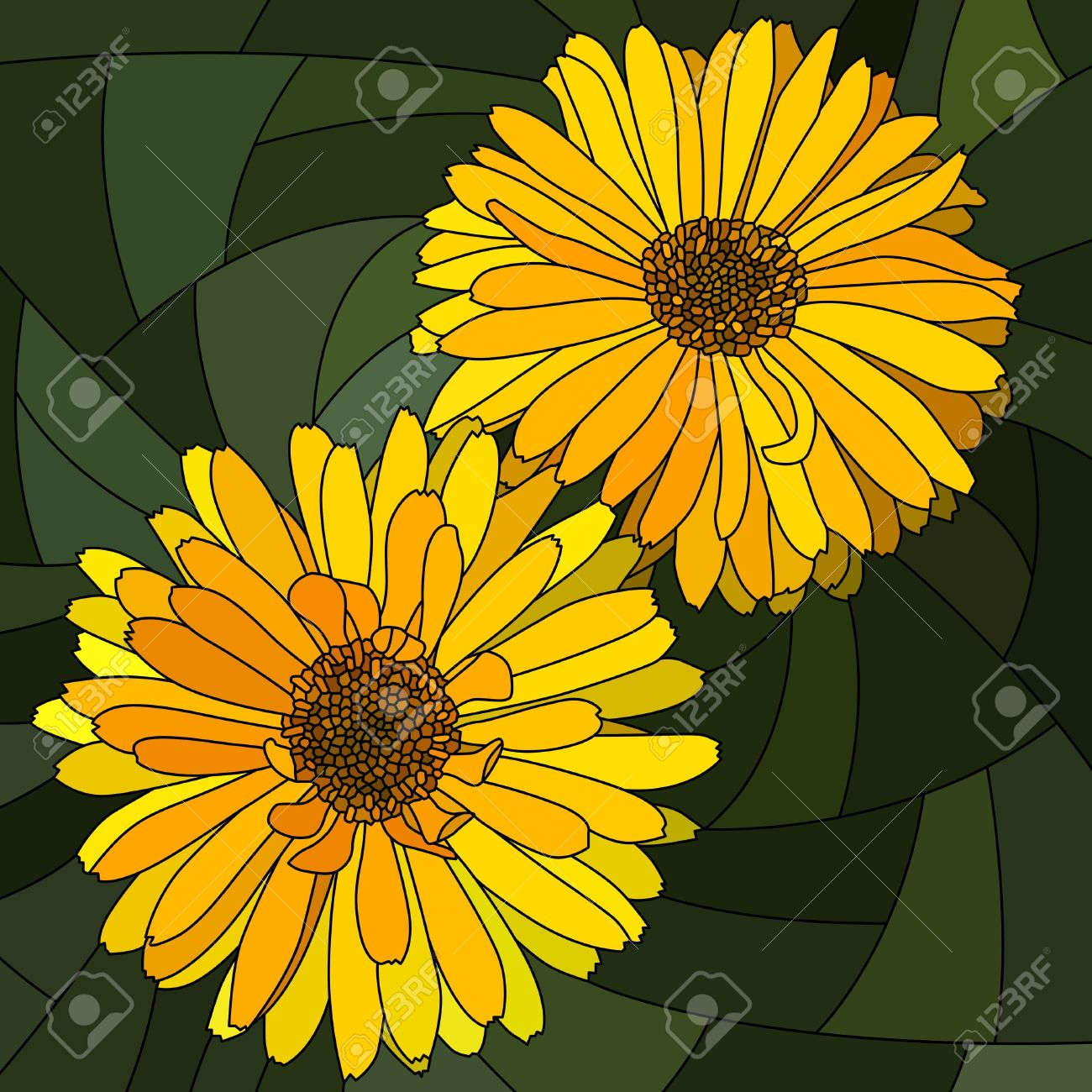 Mosaic With Large Cells Of Brightly Yellow Calendula (pot Marigold.