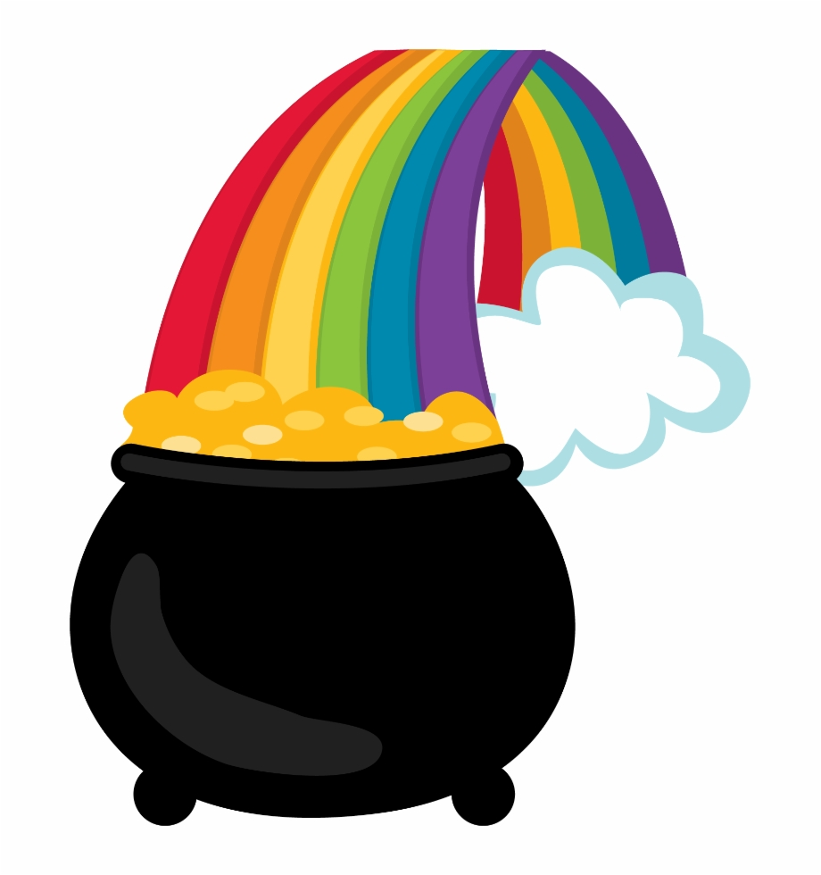 Printed Picture Of A Rainbow With A Pot Of Gold.