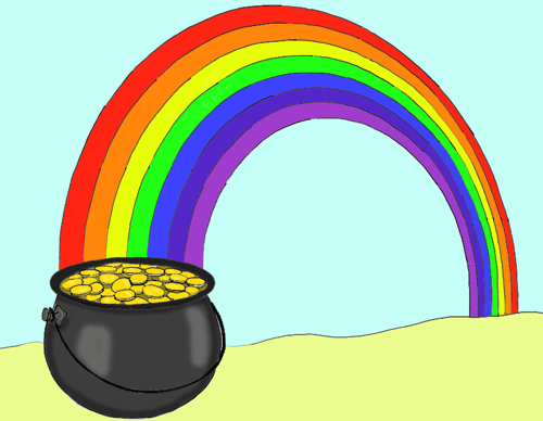 Rainbow And Pot Of Gold.