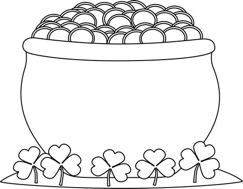 Black And White Pot Of Gold Clipart.