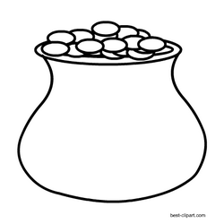Free pot of gold black and white clip art image.