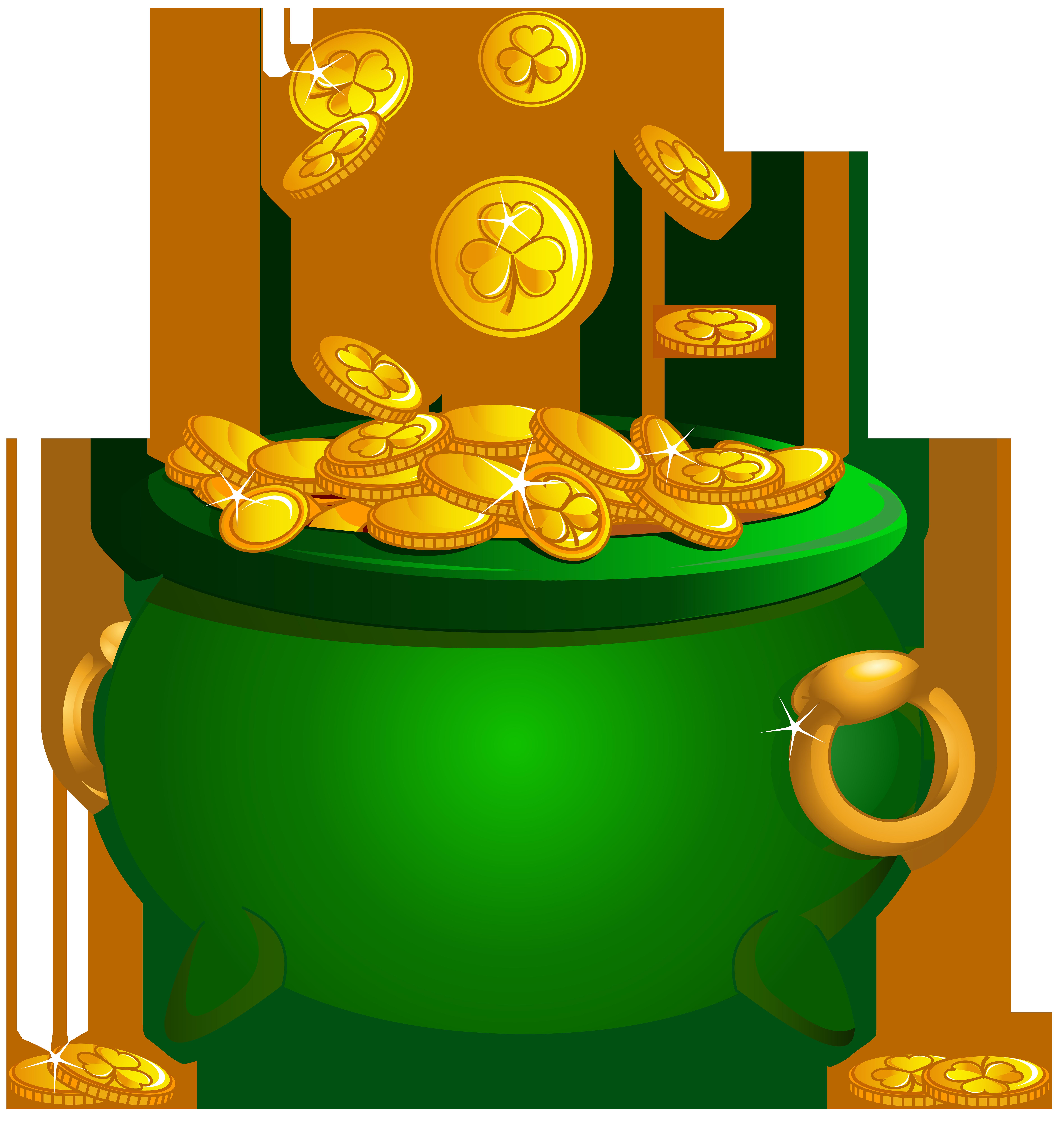 St Patrick Pot of Gold Transparent Image.