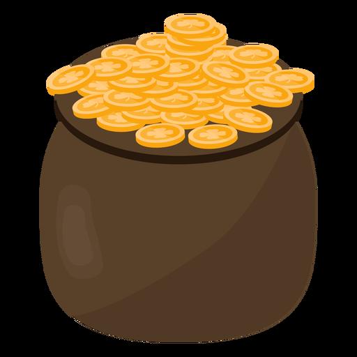 Pot coin gold clover flat.