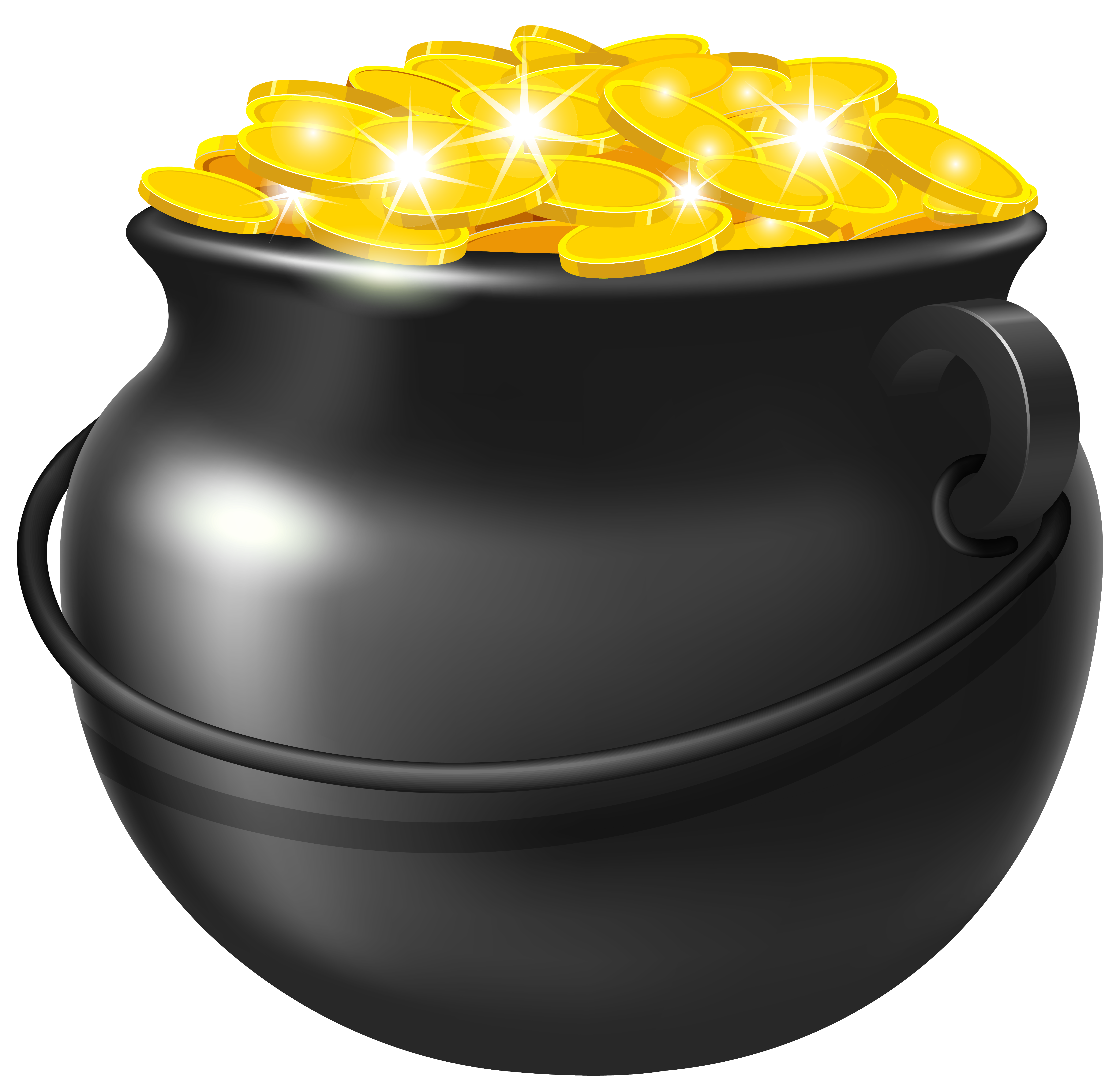 Black Pot of Gold PNG Clipart Image.