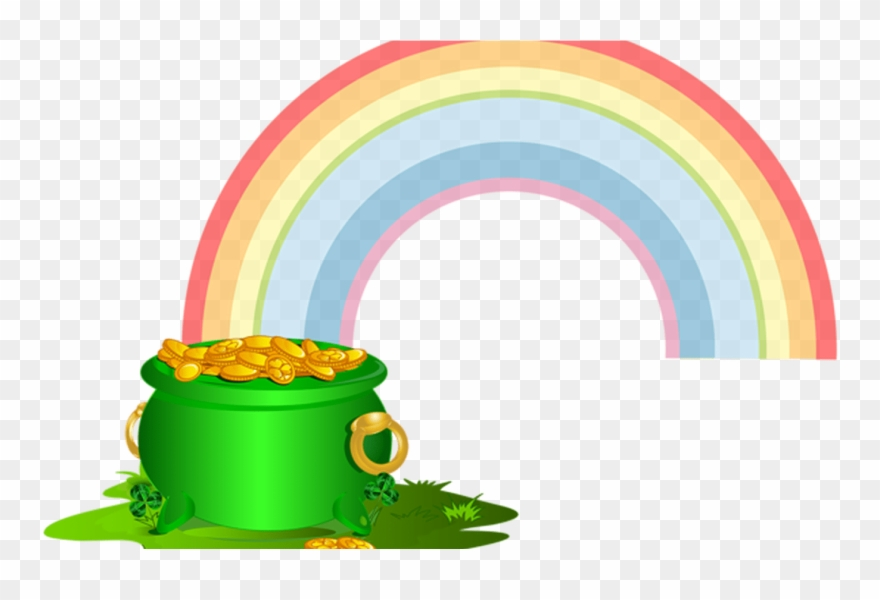 Green Pot Of Gold With Rainbow Png Clip Art Image.