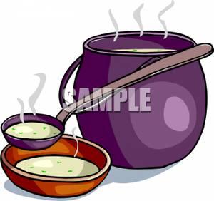 A Ladle Next To a Pot of Soup Clipart Picture.