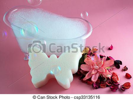 Stock Photography of Bathtub, sponge and pot pourri, with soap.